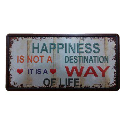 Happiness Vintage Metal Painting per Cafe Bar Restaurant Wall Decor