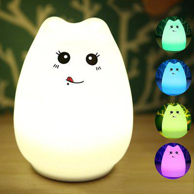 KWB Silicone LED Night Light Portable Cute Cat Night Lamp for Kids Baby Bedroom 7-Color