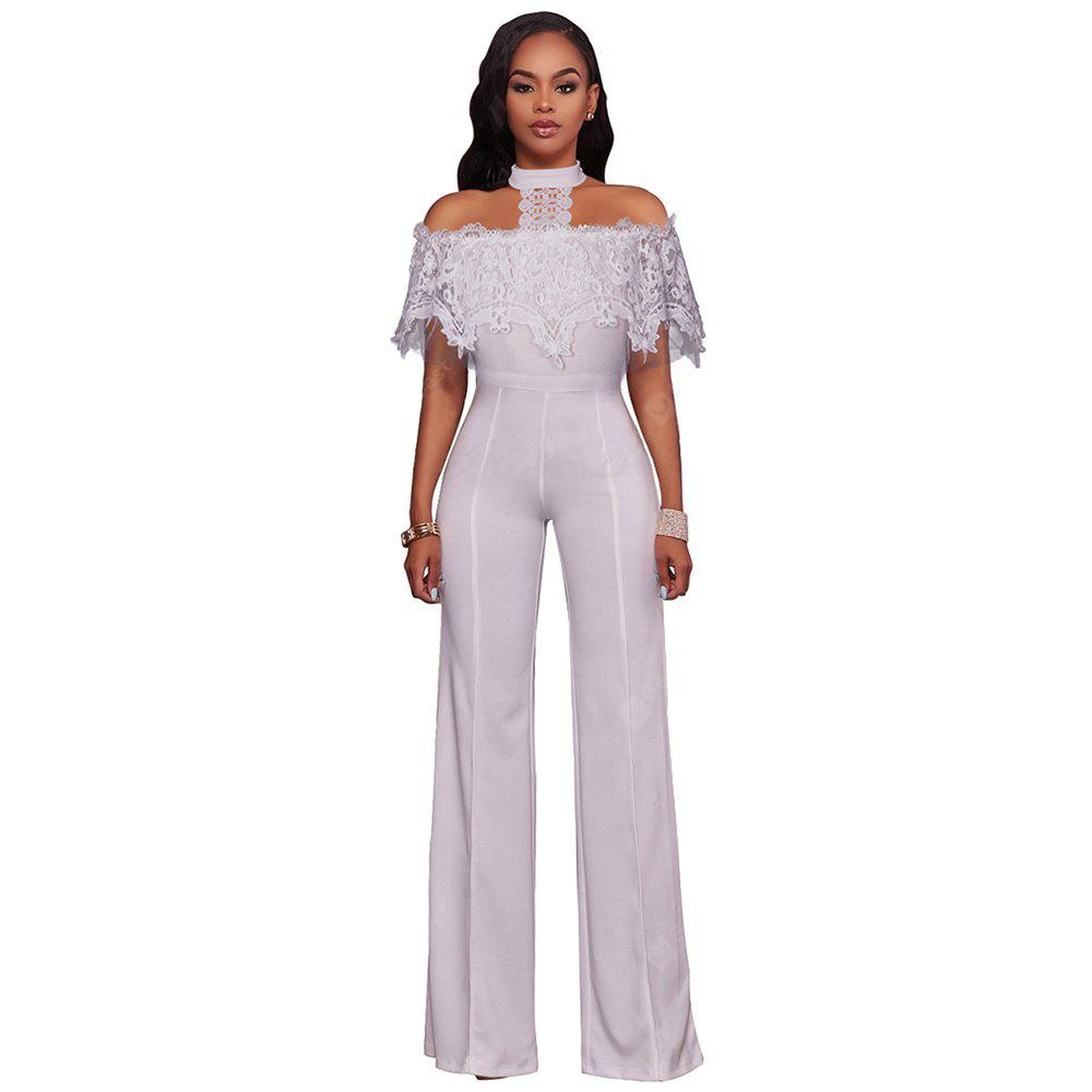 Leisure Ladies Water - Soluble Lace with Wide - Leg Jumpsuits