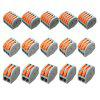 ZDM 5PCS ET25 2/3/5 Pins 32A Spring Terminal Block Electric Cable Wire Connector - GREY AND ORANGE