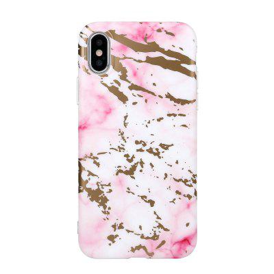 Bronzing Soft Tpu Pink Scrub Marble Stone Pattern Phone Cover Case for iPhone X