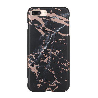 Bronzing Black Soft Tpu Scrub Marble Stone Pattern Phone Cover Case for iPhone 7 Plus