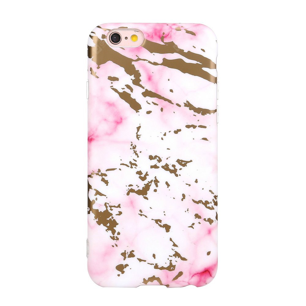 Bronzing Soft Tpu Pink Scrub Marble Stone Pattern Phone Cover Case for iPhone 6 6s