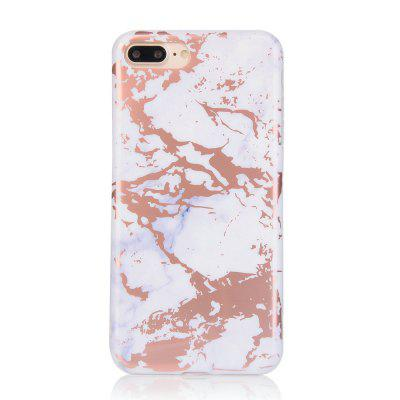 Bronzing White Marble Stone Pattern Soft Tpu Mobile Phone Cover Case for iPhone 8 plus