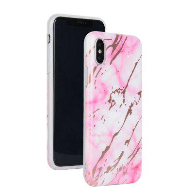 Bronzing Pink Marble Stone Pattern Soft Tpu Mobile Phone Cover Case for iPhone X