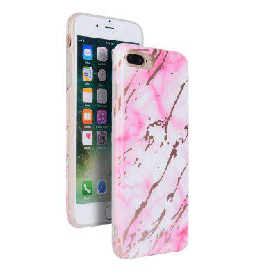 Bronzing Pink Marble Stone Pattern Soft Tpu Mobile Phone Cover Case for iPhone 7 Plus