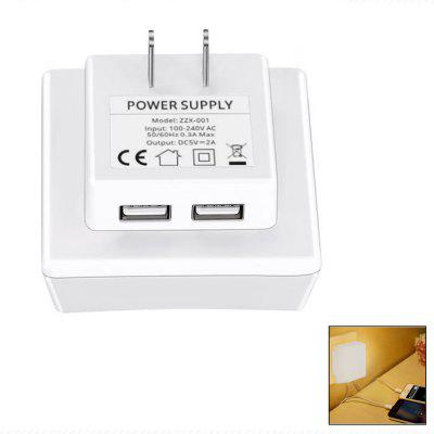Minismile LED Light Sensor Control Night Light Lamp with 5V 2A Dual USB Port Wall Charger