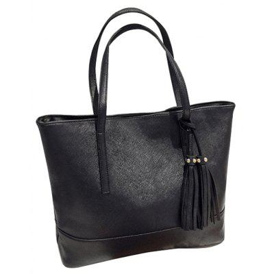Stylish Simple Soft Leather Tassel Shoulder Bag Large Volume Tote Bag