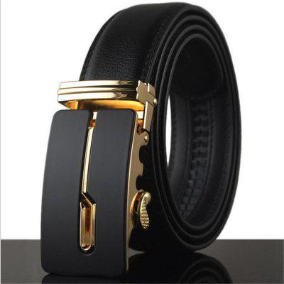 Men's Business Formal Leather Automatic Buckle Belt