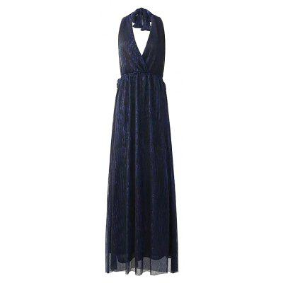 New Woman Backless Hang A Neck Shiny Open Fork Dress