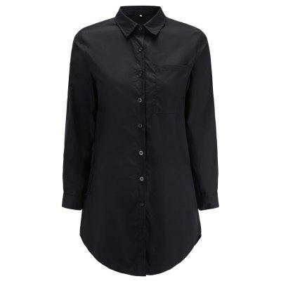 Fashion Solid Color Langarm-Shirt OL Langarm-Shirt im Wind