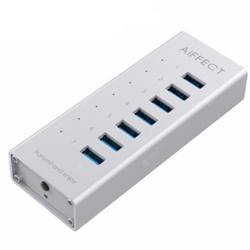 AIFFECT XB73A1 - 10U 7 Ports Aluminum Alloy BC1.2 Fast Charging Charger USB 3.0 HUB with Date Cable US Plug Power Adapter