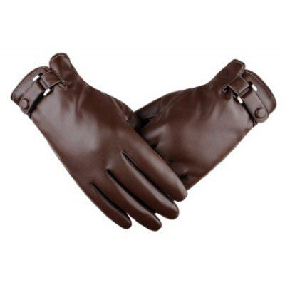 Touch Screen Men Gloves Simulation Water Skin Gloves in Winter PU Cashmere and Thickening Fashion Winter Thin