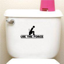 DSU  USE THE FORCE Funny WC Toilet Sticker Creative Vinyl Wall Sticker
