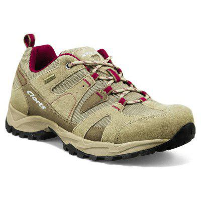 CLORTS Trekking Shoes Leather Breathable Hiking Shoes Suede Waterproof Athletic Sneakers