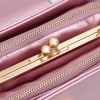 Fashion Rabbit Ears Three-Layer Clip Mouth Single Shoulder Bag - ROSE GOLD