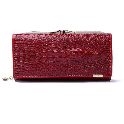 High Quality Patent Leather Women Wallets Hasp Zipper Purse Alligator 3D Clutch Bags