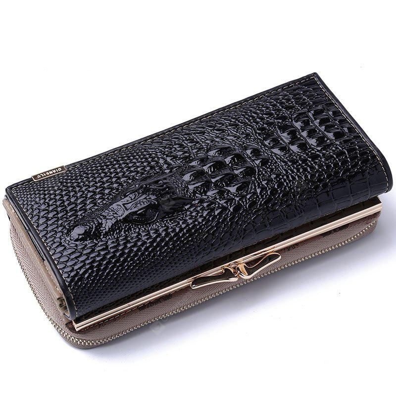 High Quality Patent Leather Women Wallets Hasp Zipper Purse Alligator 3D Clutch Bags - BLACK