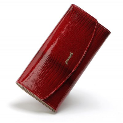Qianxilu Fashion Alligator Womens Wallets and Purses Patent Genuine Leather,Ladies Leather wallets