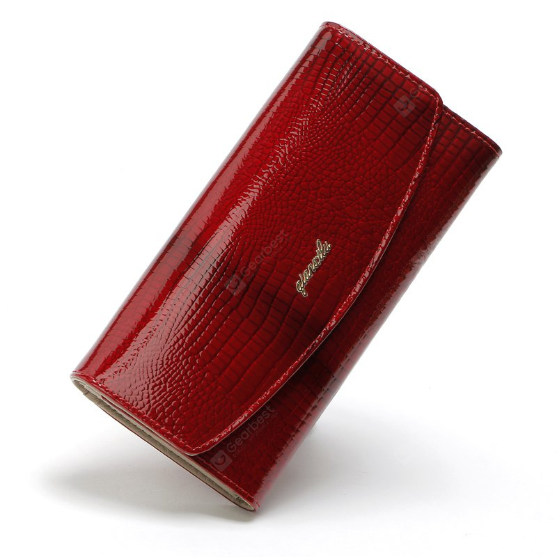 Qianxilu Fashion Alligator Womens Wallets Purses Patent Genuine Leather,Ladies Leather wallets - RED