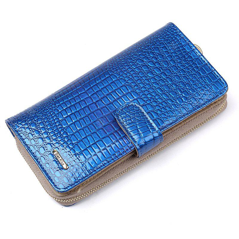 Fashion Alligator Womens Wallets Purses Patent Genuine Leather,Ladies Leather wallets BLUE