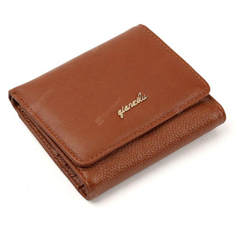 Fashion 100% Genuine Leather Women Wallet Cowhide Wallets Small Purse - COFFEE BROWN