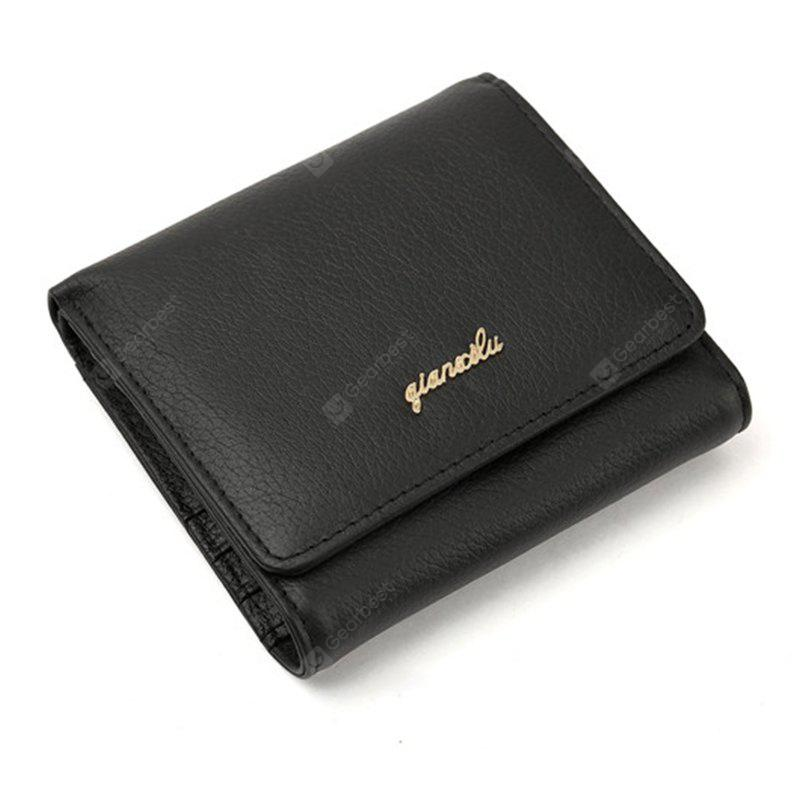 Fashion 100% Genuine Leather Women Wallet Cowhide Wallets Small Purse - BLACK