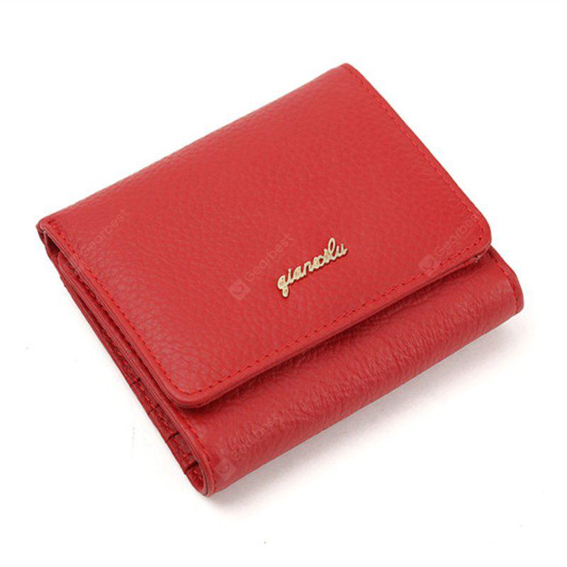 Fashion 100% Genuine Leather Women Wallet Cowhide Wallets Small Purse - RED
