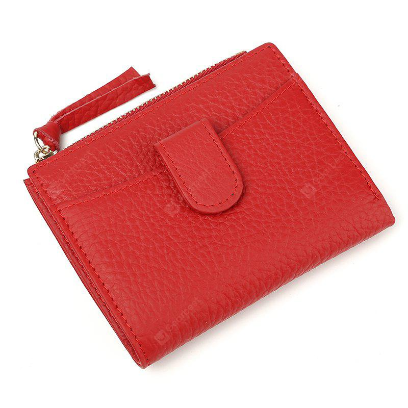 New Brand Women Wallets Cowhide Leather Zipper Hasp Coin Purses Female Wallet High Quality RED