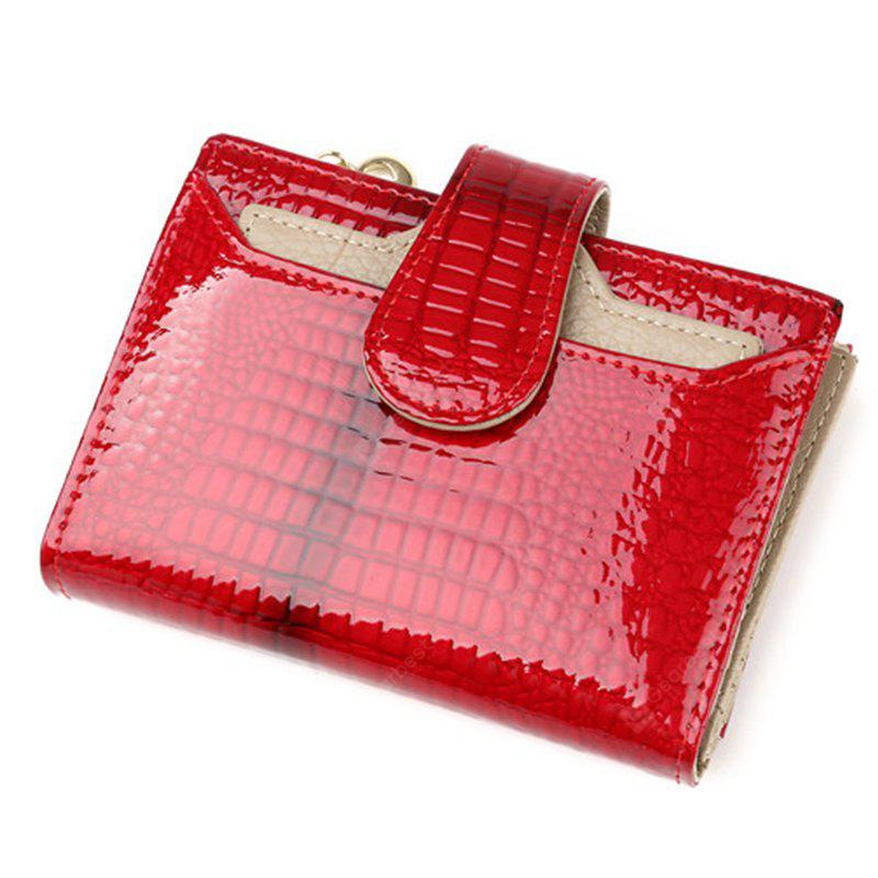 Fashion Leather Women Wallets Short Coin Purse Small Wallet Coin Pocket Real Patent Leather Card Holder Pocket Wallet fo - RED