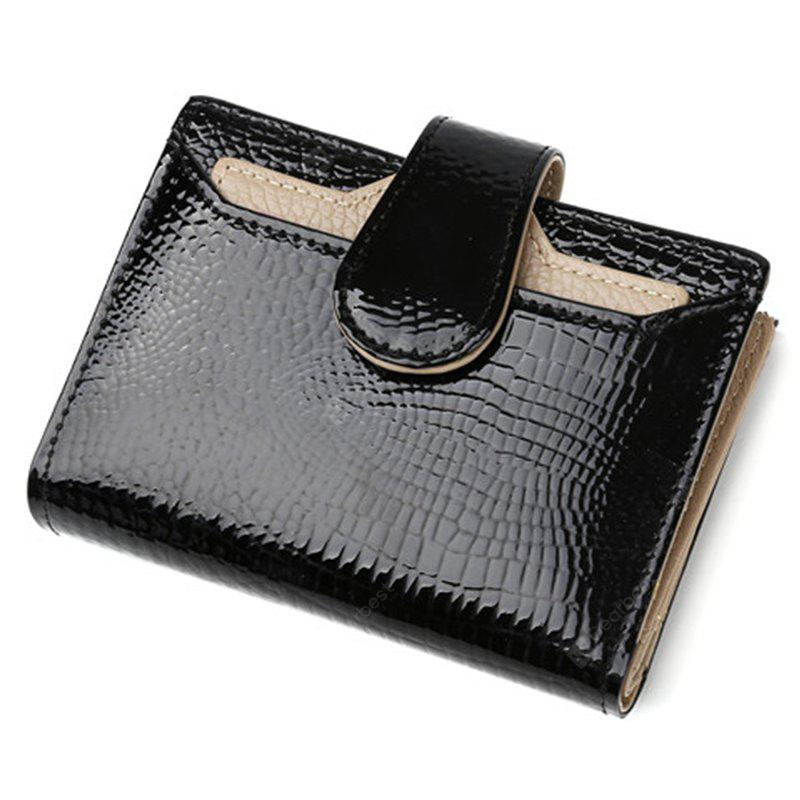 Fashion Leather Women Wallets Short Coin Purse Small Wallet Coin Pocket Real Patent Leather Card Holder Pocket Wallet fo - BLACK