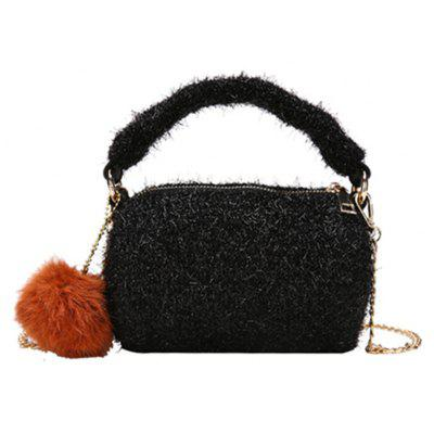 New Fashion Plush Cylinder Handbag Chain Messenger Bag
