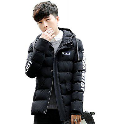 Men'S Winter Feathers Cotton Clothes Slim Youth Casual Hooded Cotton Jacke