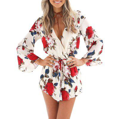V Neck Print Floral Sexy Jumpsuit