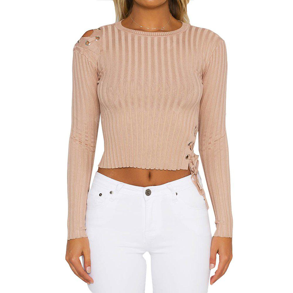 Slim Lace Up Pullover Sweater