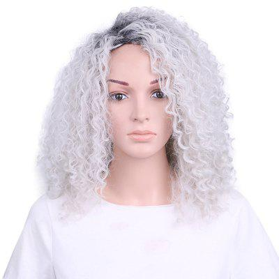 Ombre Grey Color Medium Length Kinky Curly Synthetic Wig for Elder Women