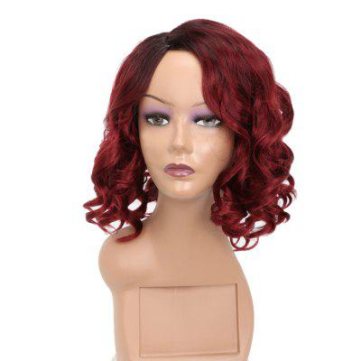 Women's Wine Color Short Wavy Fashion Synthetic Wig
