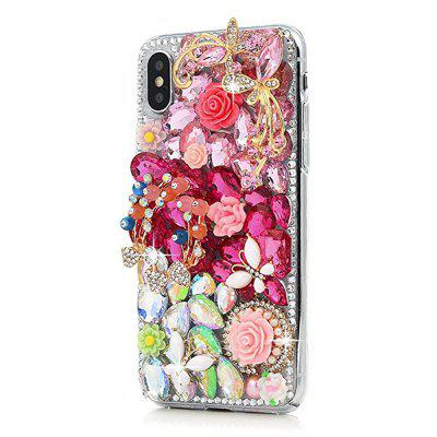 Case For iPhone X  Full Edge Protective Plastic Case 3D Handmade Crystal Clear Bling Diamonds Shiny Rhinestone Cover