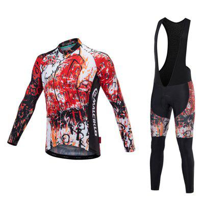 Malciklo 18 Cycling Jersey Winter Warm with Bib Tights Man Long Sleeves Bike Compression Suits Quick Dry