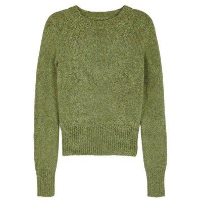 Ivy Solid Color Round Neck Slim Long-Sleeved Short Sweater ONE ...