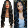 Fashion Woman's Wig Long Body Wave Lace Front Synthetic Hair Black Color Heat Resistant - BLACK