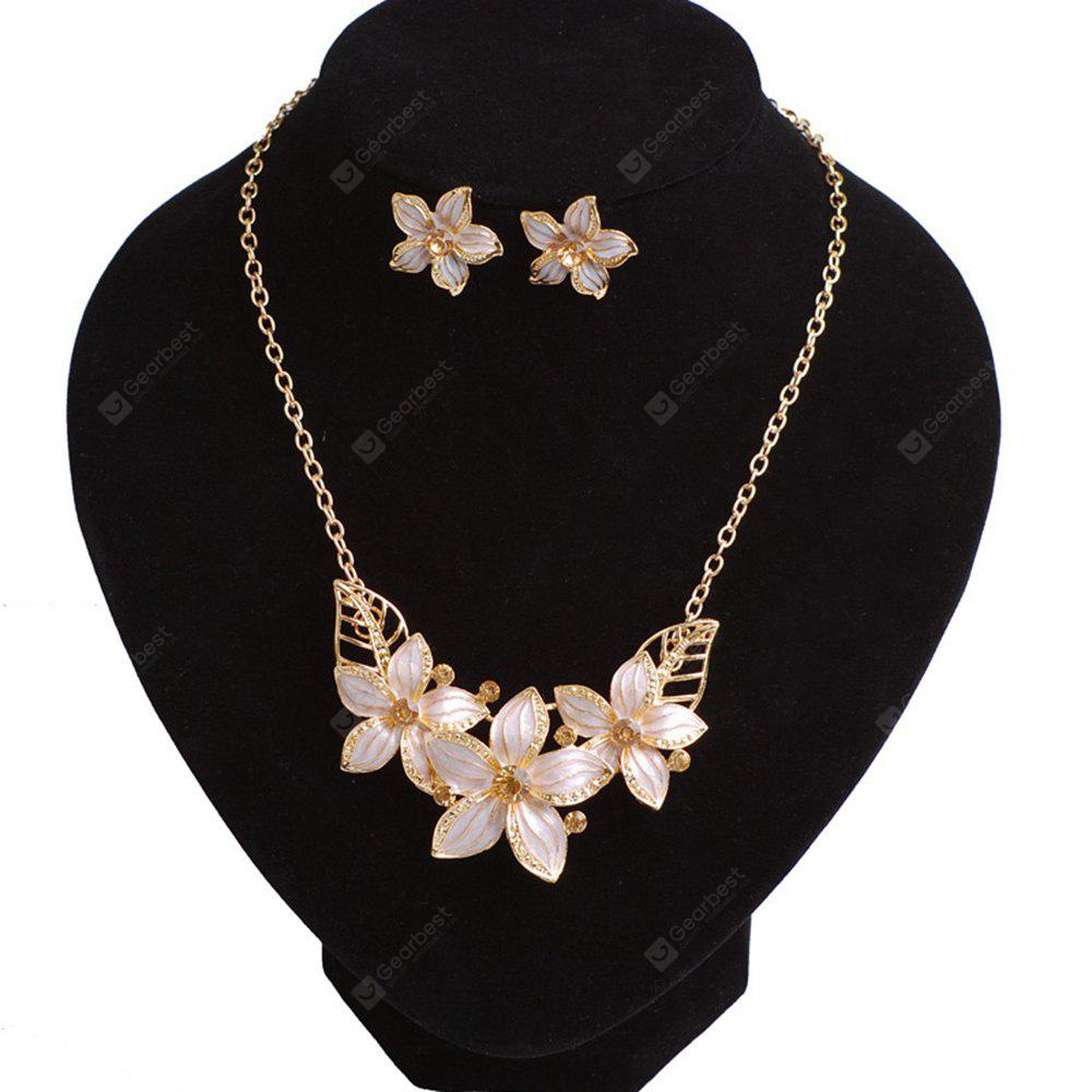Women Girls Diamond Flower Pendant Necklace with Earrings Jewelry Set Birthday Gifts