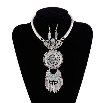 Women Lady Vintage Tassel Feather Leaves Pendants Choker Diamond Metal Necklace Earrings Jewelry Set