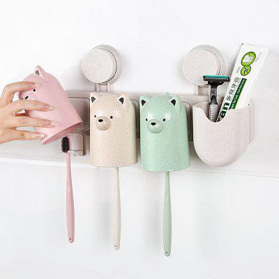 Bathroom Accessorie Suction Cups Wheat Straw Fibre Toothbrush Toothpaste Tooth Mug Holder