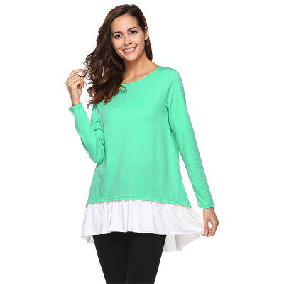 Round Neck Long-Sleeved Decorative Buttonted T-Shirt Top
