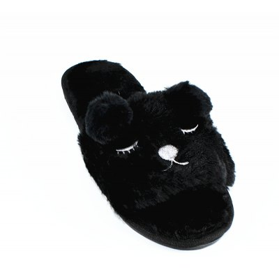 Dog Faux Fur Overlay Flat Slippers