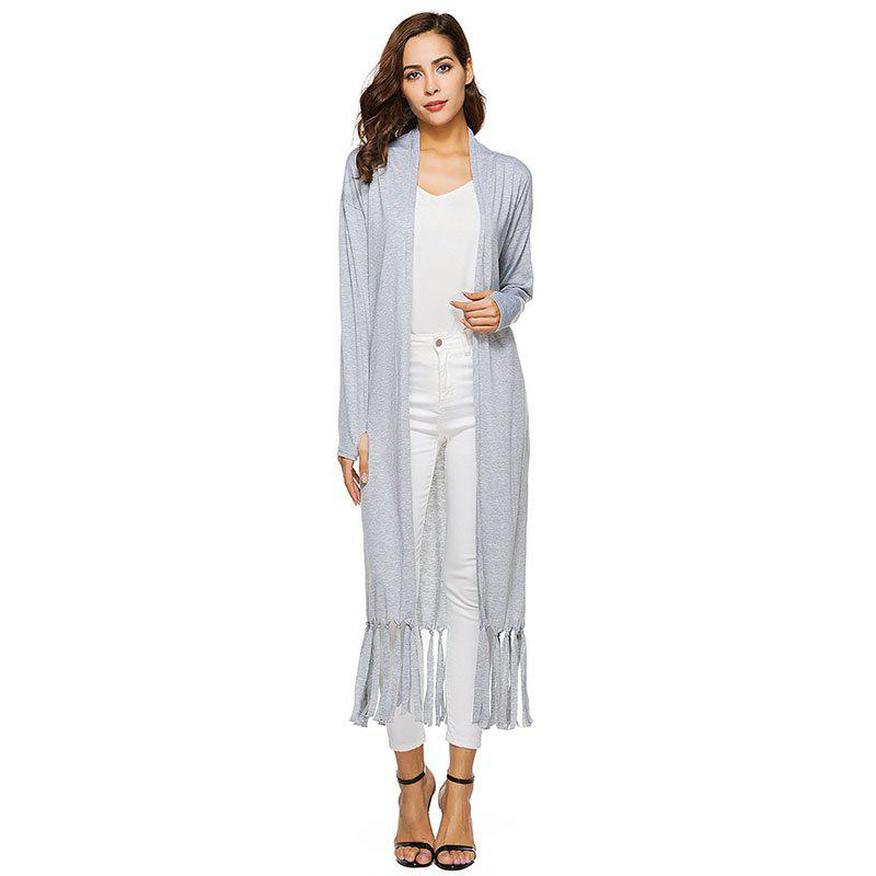 Solid Tassel Splicing Cardigan Without Necklace
