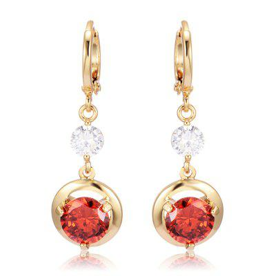 Trendy Hollowed Round Zircon Earrings