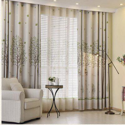Shaded Cloth Curtains With Bird Cages