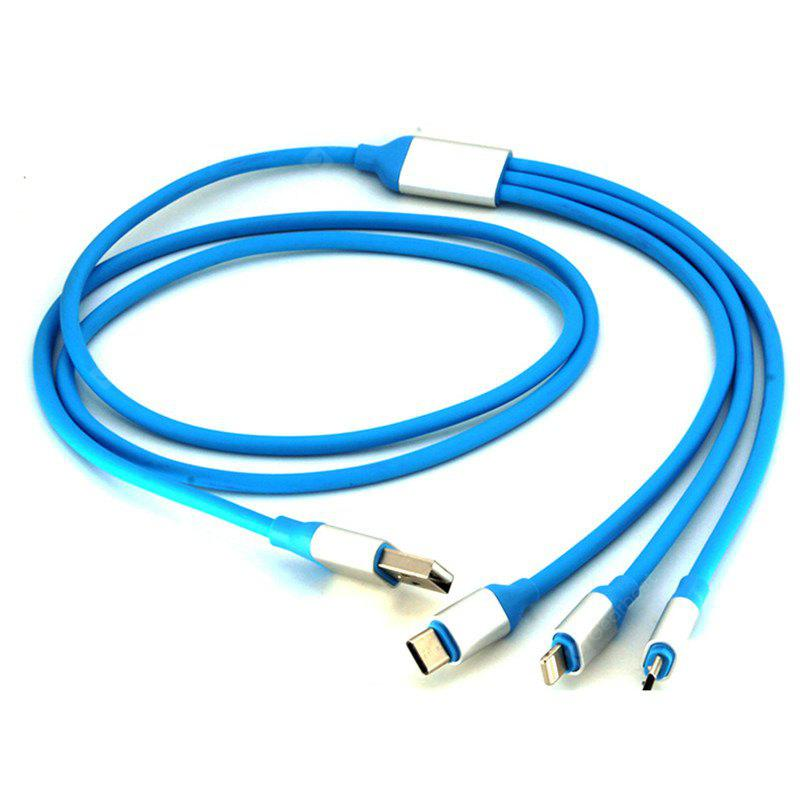 1M 3 1 Fast Charging Data Cable 8 Pin Micro Type-C Devices BLUE